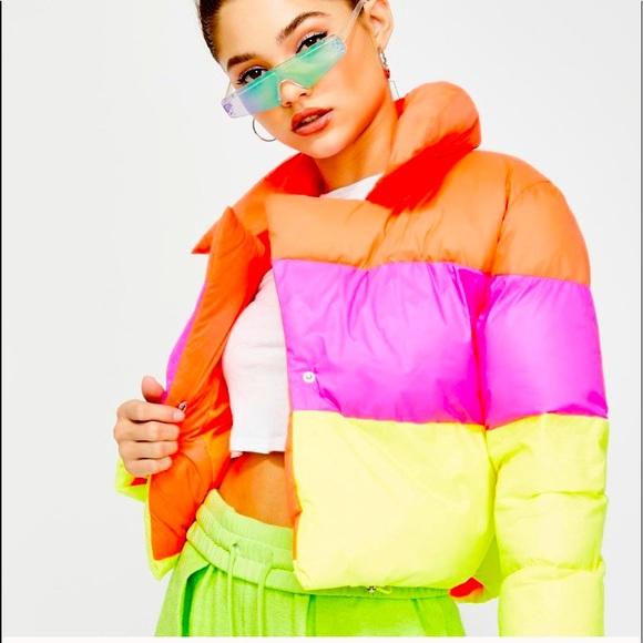 Dolls Kill Roxi Neon Puffer Jacket